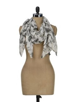 Feather Print Scarf - J STYLE