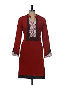 Maroon Woollen Kurta With Lace Work - Paislei