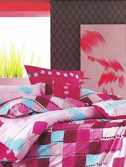 Pink & Blue Printed Bed Sheet - Just Linen