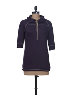 Cowl Neck Fleece Tunic - Femella