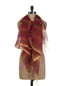 Multicolored Striped Dupatta - SONJATO SEN