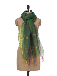 Elegant Green Striped Dupatta - SONJATO SEN