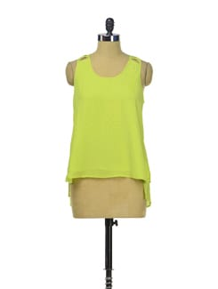 Stylish Lime Green Slit Top - Besiva