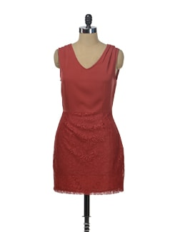 Deep Red Lace Skirt Dress - Besiva
