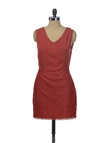Deep Red Lace Skirt Dress - Besiva