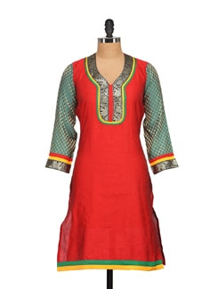 Red Silk Kurta With Brocade Sleeves - NAVYOU
