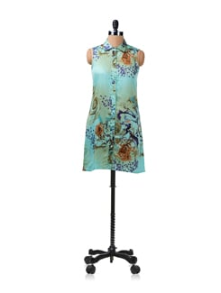 Blue Floral Print Tunic Dress - ENAH