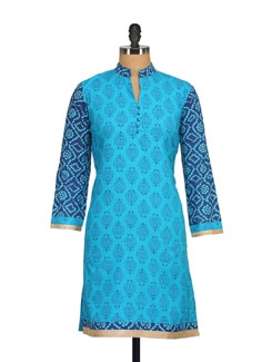 Shades Of Blue Printed Kurta - NAVYOU