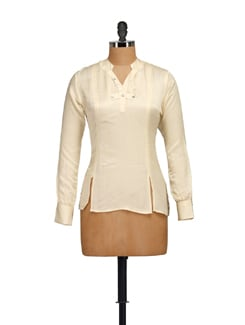 Beige Top With Mandarin Collar - Guster Ve..
