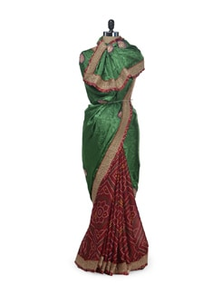 Festive Bandhani Saree- Red&Green - Awesome