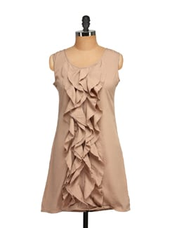 Ruffled Beige Sleeveless Dress - Tapyti