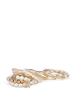 Combo Of Pearl Bracelets And Gold Bracelets - THE PARI
