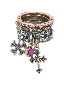Set Of 4 Embellished Rings - THE PARI
