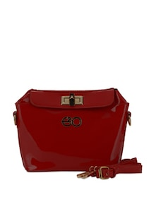Red Patent Frame Bag With Sling - E2O
