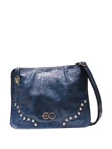 Textured Blue Frame Bag With Studs - E2O