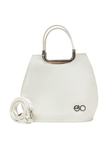 Chic White Satchel With Metal Details - E2O