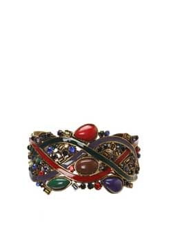 Intricate Golden Bracelet With Stones - CIRCUZZ