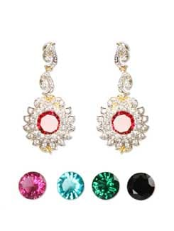 Embellished Silver & Red Earrings - Sparkling Deals