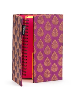 Purple Brocade Organizer With Fluorescent Pages - SUNDARBAN