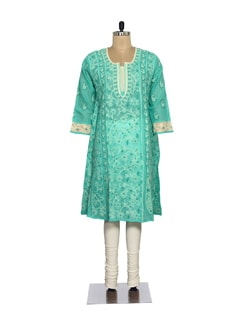 Green & Beige Embroidered Kurta - Ada
