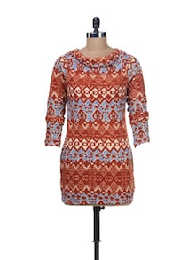 Orange Printed Cowl Neck Tunic - Kaxiaa