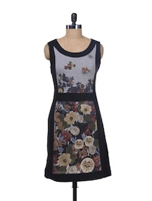 Black Sleeveless Printed Dress - Kaxiaa