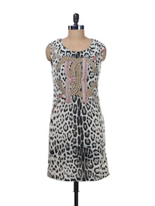 Leopard Print Sleeveless Dress - Kaxiaa