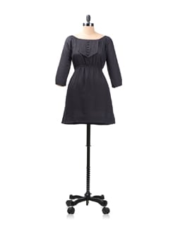 Black Elasticised Neckline Dress - Kaxiaa