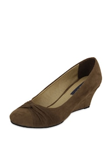 Brown Suede Wedges - Blue Button