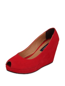 Red Peep Toe Wedges - Blue Button