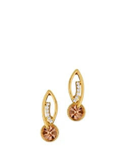 14K Rose Gold Plated Diamante Earrings - Ivory Tag