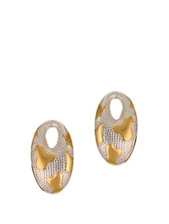 14K Gold Plated Teztured Oval Studs - Ivory Tag