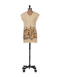 Beige And Yellow Floral Top - Allen Solly
