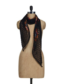 Black Floral Lace Scarf - Ivory Tag