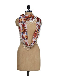 Multi Hued Floral Scarf With Tasseled Lace - Ivory Tag