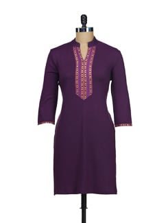 Simple Black Kurta With A Hint Of Purple - AKYRA