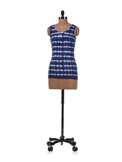 Blue And White Sleeveless Top - Allen Solly