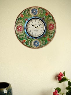Multicolored Engraved Wall Clock - Marwar Stores