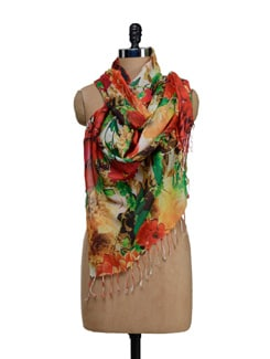 Multicolored Floral Print Scarf - SPRING SPRIGS