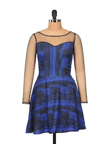 Megan Blue Party Dress With Mesh Sleeves - STREET 9