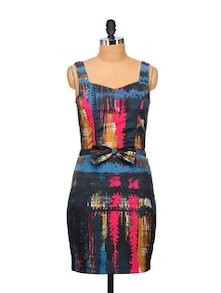 Bow Embellished Dress In Multi Hues - STREET 9