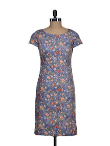 Floral Printed Blue Dress - STREET 9