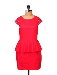 Kate Peplum Dress With Crystal On Sleeves - STREET 9
