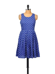 Royal Blue Dotted Dress - STREET 9