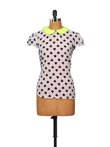 Heart Print Top With Neon Green Collar - STREET 9