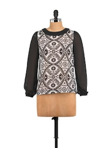 Black & White Printed Full Sleeves Top - STREET 9