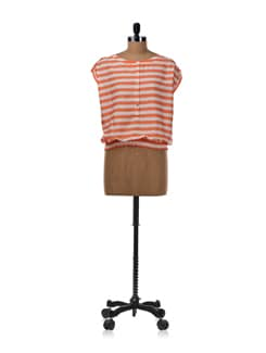 Peach And White Striped Balloon Top - Van Heusen