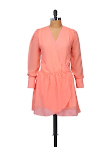 Coral Wrap Dress - STREET 9