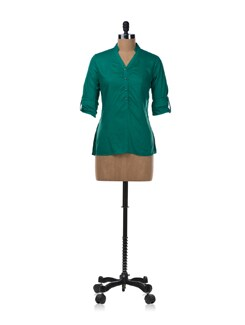 Casual Mandarin Collar Shirt In Bright Green - Van Heusen