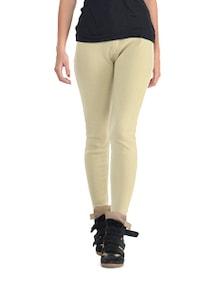 Cream Woolen Leggings - K For Women